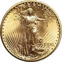 1908 $20 St. Gaudens Gold Coin - Brilliant Uncirculated (BU)