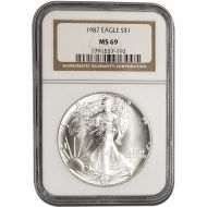 1987 American Silver Eagle - NGC MS 69