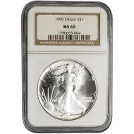 1990 American Silver Eagle - NGC MS 69