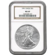 1991 American Silver Eagle - NGC MS 69