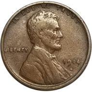 1914 S Lincoln Wheat Penny - VF (Very Fine)