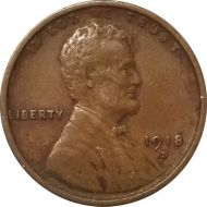 1918 S Lincoln Wheat Penny - XF (Extra Fine)