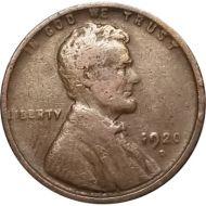 1920 D Lincoln Wheat Penny - F (Fine)