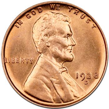 1938 D Lincoln Wheat Penny - Brilliant Uncirculated