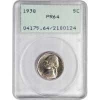 1938 Proof Jefferson Nickel - PCGS PR 64 - Rattle Holder