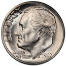 1947 D Roosevelt Dime - Brilliant Uncirculated