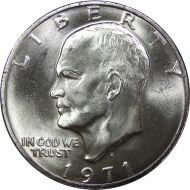 1971 S Eisenhower Dollar - Brilliant Uncirculated - 40% Silver