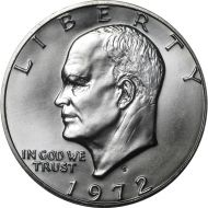 1972 S Eisenhower Dollar - Brilliant Uncirculated - 40% Silver