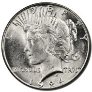 1924 Peace Dollar - (BU) Brilliant Uncirculated