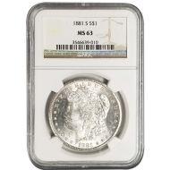 1881 S Morgan Dollar - NGC MS 63