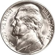 1941 D Jefferson Nickel - Brilliant Uncirculated