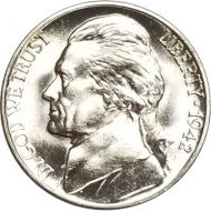 1942 P Jefferson Nickel - Brilliant Uncirculated