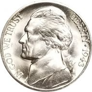 1943 S Jefferson Nickel - Brilliant Uncirculated