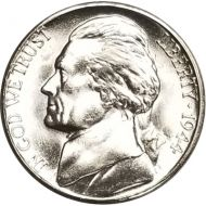 1944 S Jefferson Nickel - Brilliant Uncirculated