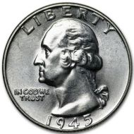 1945 D Washington Quarter - Brilliant Uncirculated