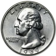 1969 D Washington Quarter - Brilliant Uncirculated