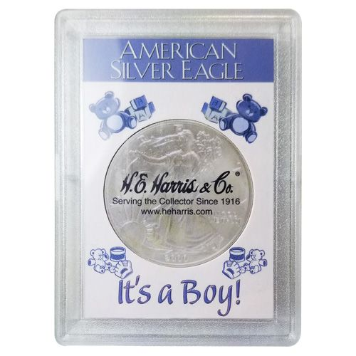 H.E. Harris 2x3 Silver Eagle Frosted Case Holder - It's A Boy