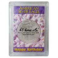 H.E. Harris 2x3 Silver Eagle Frosted Case Holder - Happy Birthday