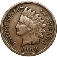 1908 S Indian Head Penny - VG (Very Good)