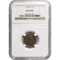 1922 D Lincoln Wheat Penny - NGC XF 45 BN