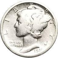 1921 Mercury Dime - F Detail (Fine Detail) - Cleaned